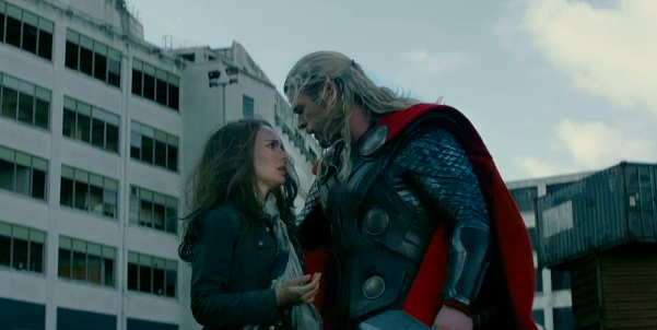 Playing Doctors and Norses: Jane Foster (Natalie Portman) and Thor (Chris Hemsworth) meet up in a pub car park....