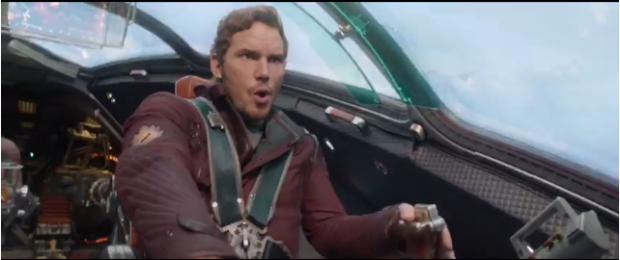 Chris Pratt looking a little ill at ease at the helm as team leader Peter Quill